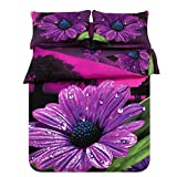 SHNICHISTAR Purple Flower 7 Piece Bed In a Bag,Floral Printed Bedding Set,Included Quilt,Queen Size Bed In a Bag