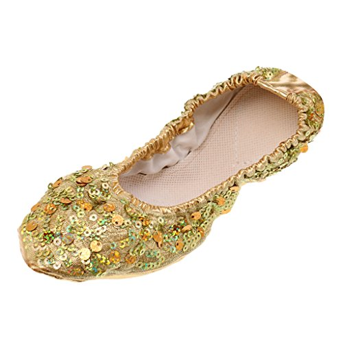 Shoes Ballet Dance Professional Adult Golden 7 Women with Belly for Soft 2 Shoes Ladies Silver Dancing Golden Size Sequins MagiDeal Children Girls Flats XSIqwwP