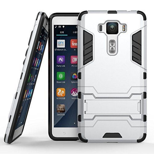 """Zenfone 3 Deluxe 5.5"""" ZS550KL Cover DWaybox 2 in 1 Hybrid Heavy Duty Armor Hard Back Case Cover with kickstand for ASUS Zenfone 3 Deluxe ZS550KL 5.5 Inch (Silver)"""