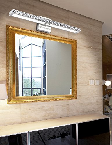 SOLFART LED Vanity Lights Over Mirror,25.4 inch 24W,Crystal Wall Lights for Bathroom Lighting Fixtures - 1.SAFETY : CE / ROHS/ QCQ certificated. FCC for the driver, IP44 waterproof and dust proof capacity. 2.EASY TO INSTALL: No switch or cord on the light. JUST Connect to the reserved wire directly,Suitable US junction box standard. 3.ENERGY SAVING: 24W LED Mirror Front Light / Warm White Light. Although only 24W, but he offers brightness more than ordinary 80W bulbs - bathroom-lights, bathroom-fixtures-hardware, bathroom - 51T8XLyzguL -