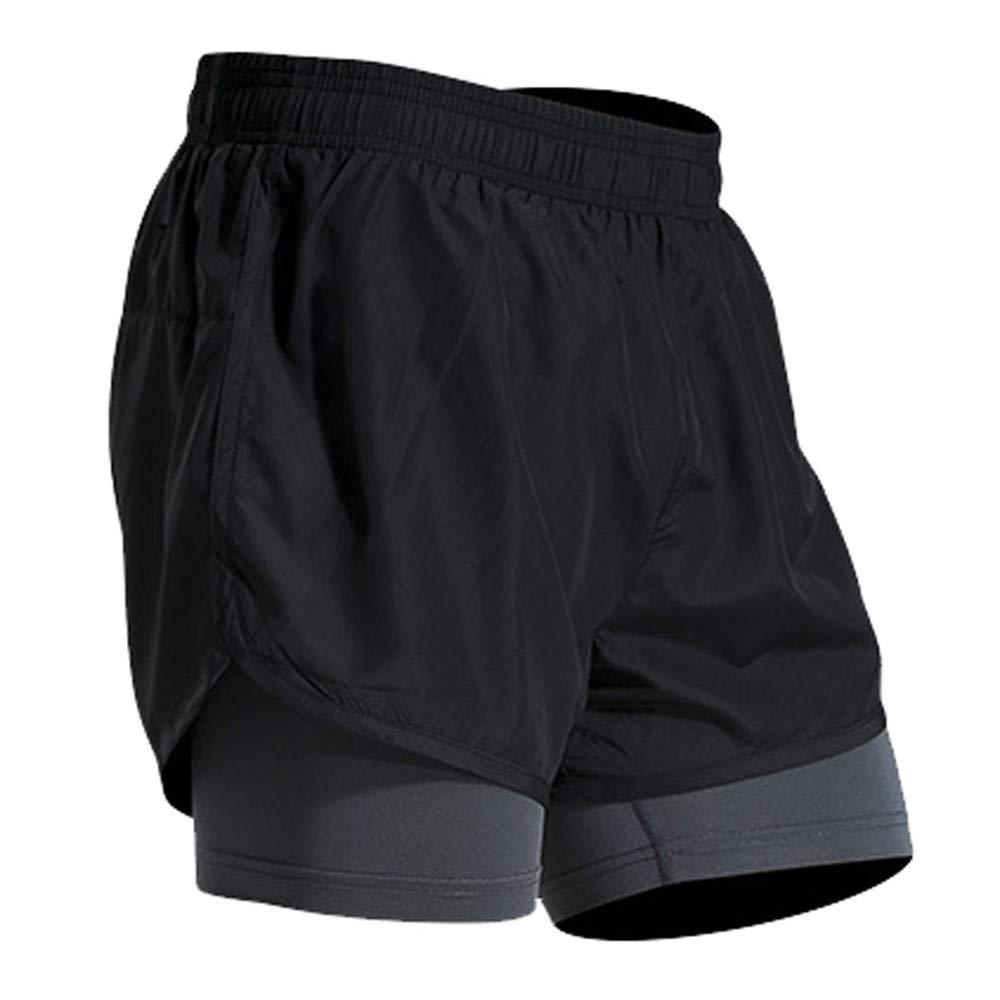 FELZ Pantalones de Fitness, Pantalón Corto Deportivo de Secado Falso de Dos Piezas para Culturismo Piel de Secado Ajustado: Amazon.es: Ropa y accesorios