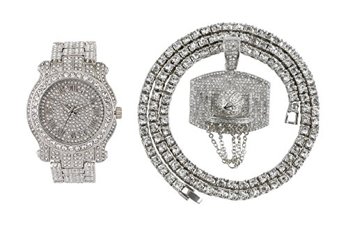 Iced out Watch (Silver) (Silver Pendant Set Watch)
