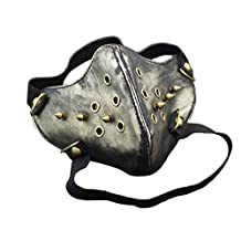Vintage Gold Punk Biker Leather Half-face Mask Masquerade Black MB2