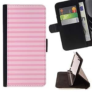 /Skull Market/ - lines summer pink horizontal pattern For Apple Iphone 6 - Caja de la carpeta del tir??n del cuero de la PU [con ranuras para tarjetas y cierre de solapa magn? -