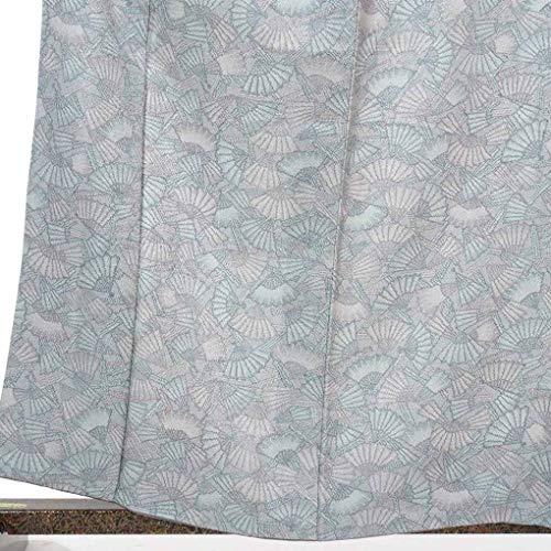 リサイクル小紋 / 正絹グレー地扇面柄袷小紋着物 / レディース【裄Mサイズ】(古着 リサイクル着物 小紋 リサイクル品)【ランクA】