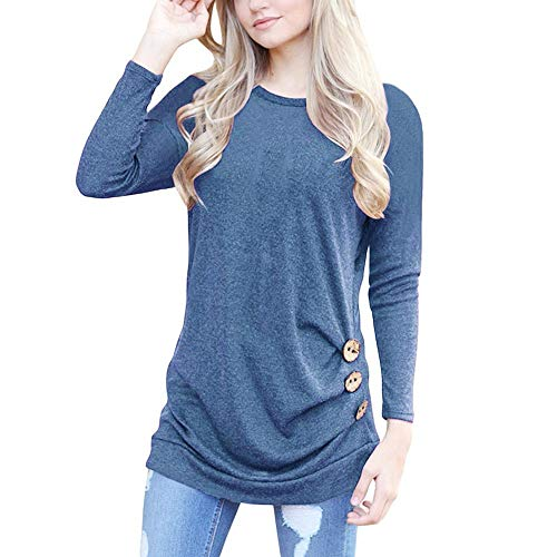 Sleeve Loose Button Trim Blouse Solid Round Neck Tunic T-Shirt (XXL, Light Blue) ()