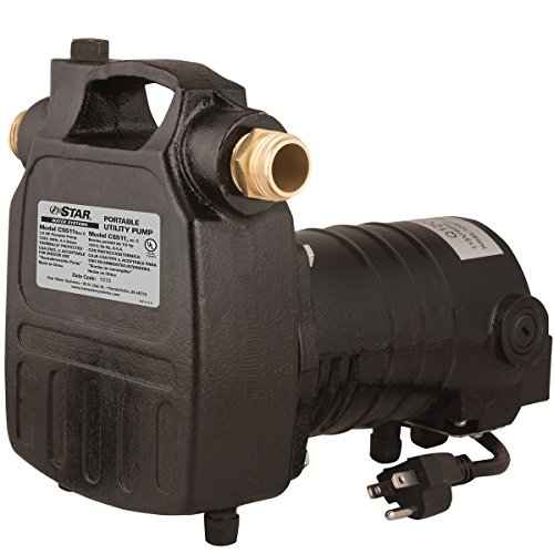 Star CS511 1/2 HP Cast Iron Portable Utility Pump with Hose Connectors and Strainer