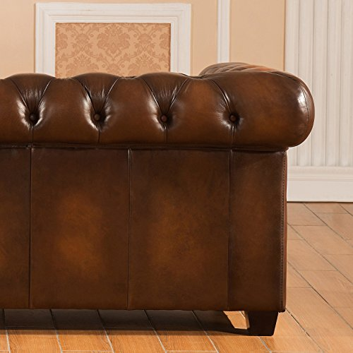 Amax Leather Stanley Park II 100% Leather 3 Piece Sofa Set, Brown