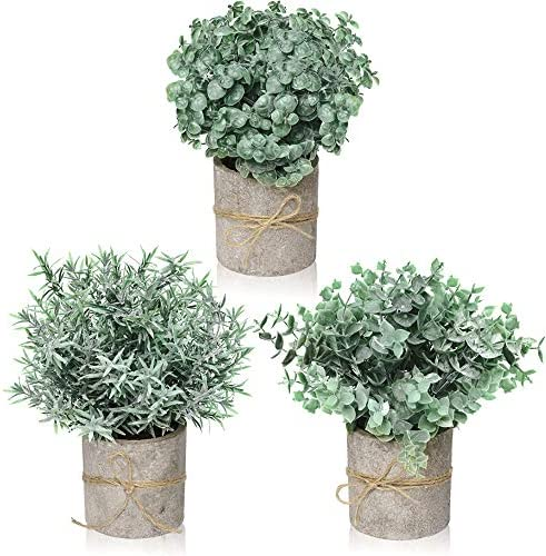 Farmhouse Decor for the Home, Farmhouse Bathroom Decorations – Modern Farmhouse Decorations for Farmhouse Bathroom or Farmhouse Table – Artificial Eucalyptus Plant Rustic Set of 3 Artificial Plants