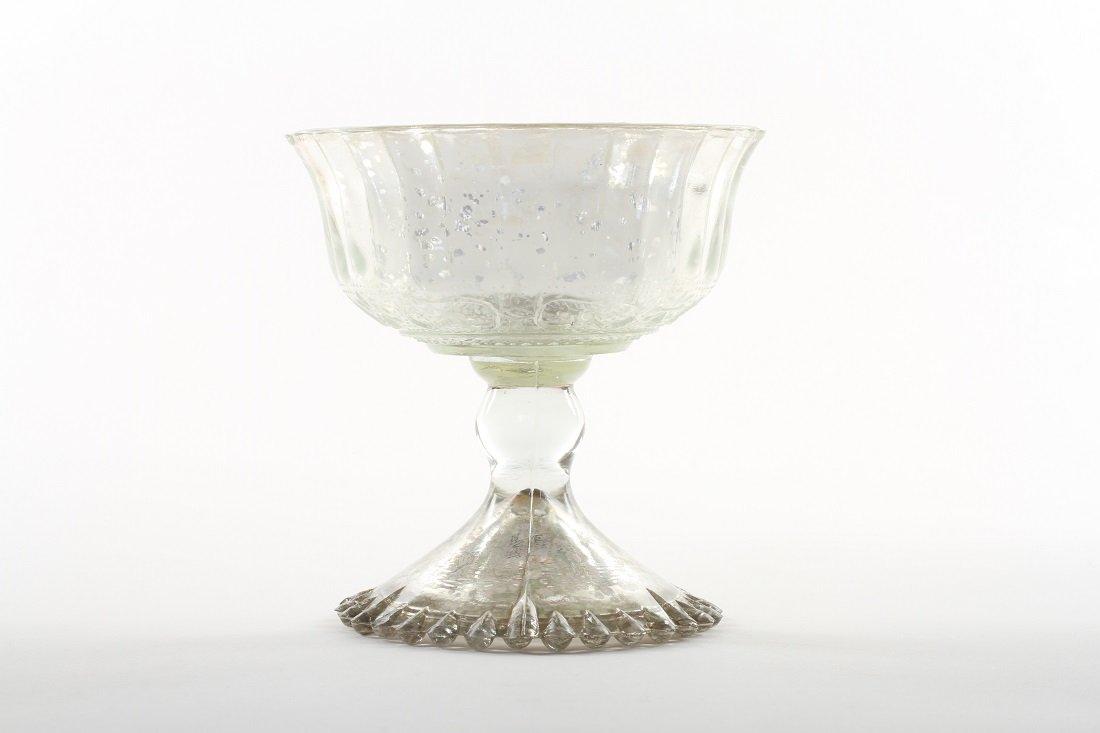 Koyal Wholesale 4.5 - Inch Antique Silver Glass Compote Bowl Pedestal Flower Bowl Centerpiece
