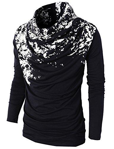 H2H+Mens+Unique+Slim+fit+Fashionable+Designed+Shirring+Long+Sleeve+T-shirts+NAVYWHITE+US+M%2FAsia+L+%28KMTTL0252%29