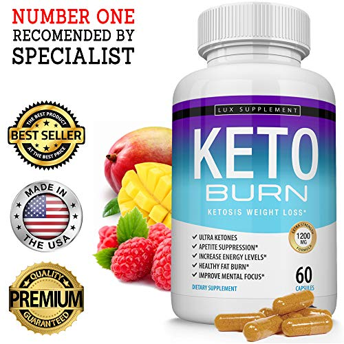 Keto Burn Pills Ketosis Weight Loss 1200 Mg Ultra Advanced Natural Ketogenic Fat Burner Using Ketone Diet, Boost Energy Focus Metabolism Appetite Suppressant, Men Women 60 Capsules, Lux Supplement