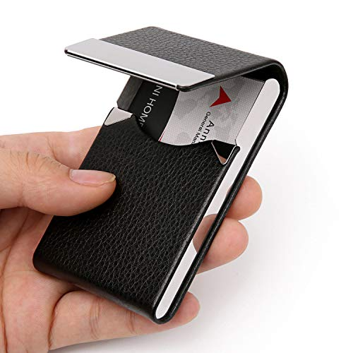 DMFLY Business Card Holder Case - PU Leather Business Card Case Name Card Holder Slim Metal Pocket Card Holder with Magnetic Shut, ()