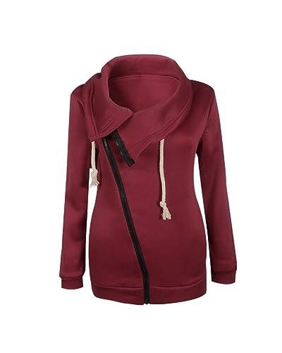Mujeres Abrigo de Manga Larga con Capucha Coat Jacket Chaqueta Vino Rojo S