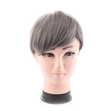TT peluca gris de los hombres con alambre de alta temperatura peluca de pelo corto