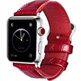 5 Colors for Apple Watch Bands 42mm, Fullmosa Bosin Series Calf Leather Replacement Band/Strap with Stainless Steel Clasp for Apple iWatch Series 1 2 3 Sport and Edition Versions 2015 2016 2017,Red