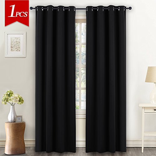 NICETOWN Black Window Blind Blackout Curtain - (Black Color) Thermal Insulated Modern Window Coveing Soundproof Drape Panel for Bedroom by, W52 x L84 Inch, 8 Grommets Top, 1 Piece (Panel Window Thermal)