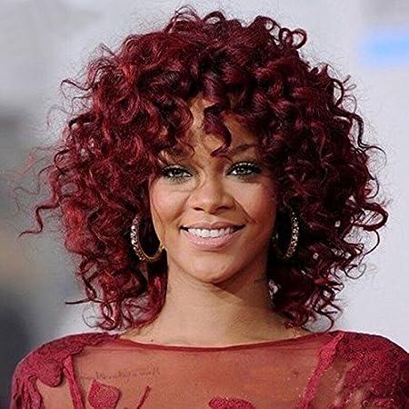 Royalvirgin Moda Rihanna peluca pelucas de pelo lleno lleno del casquillo peluca rizada peluca roja rizada peluca de pelo sintética para las mujeres: ...