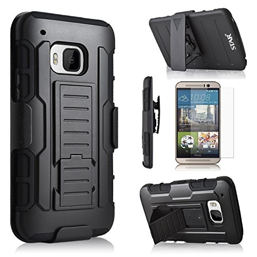 HTC One M9 Case, Starshop Full Protection Dual Layers Hybird Case with Kickstand and Locking Belt Swivel Clip + Premium Screen Protector Black