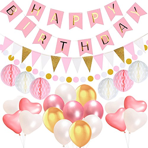 Birthday Decorations Party Supplies, Acetek Happy Birthday 13 Letters Banner Flags, 15 Triangle Bunting Flags, 6 Tissue Paper Pompom Balls, 17 Balloons, 400cm String Polka Dot Garland for Birthday (Ideas Birthday Polka Dot Party)