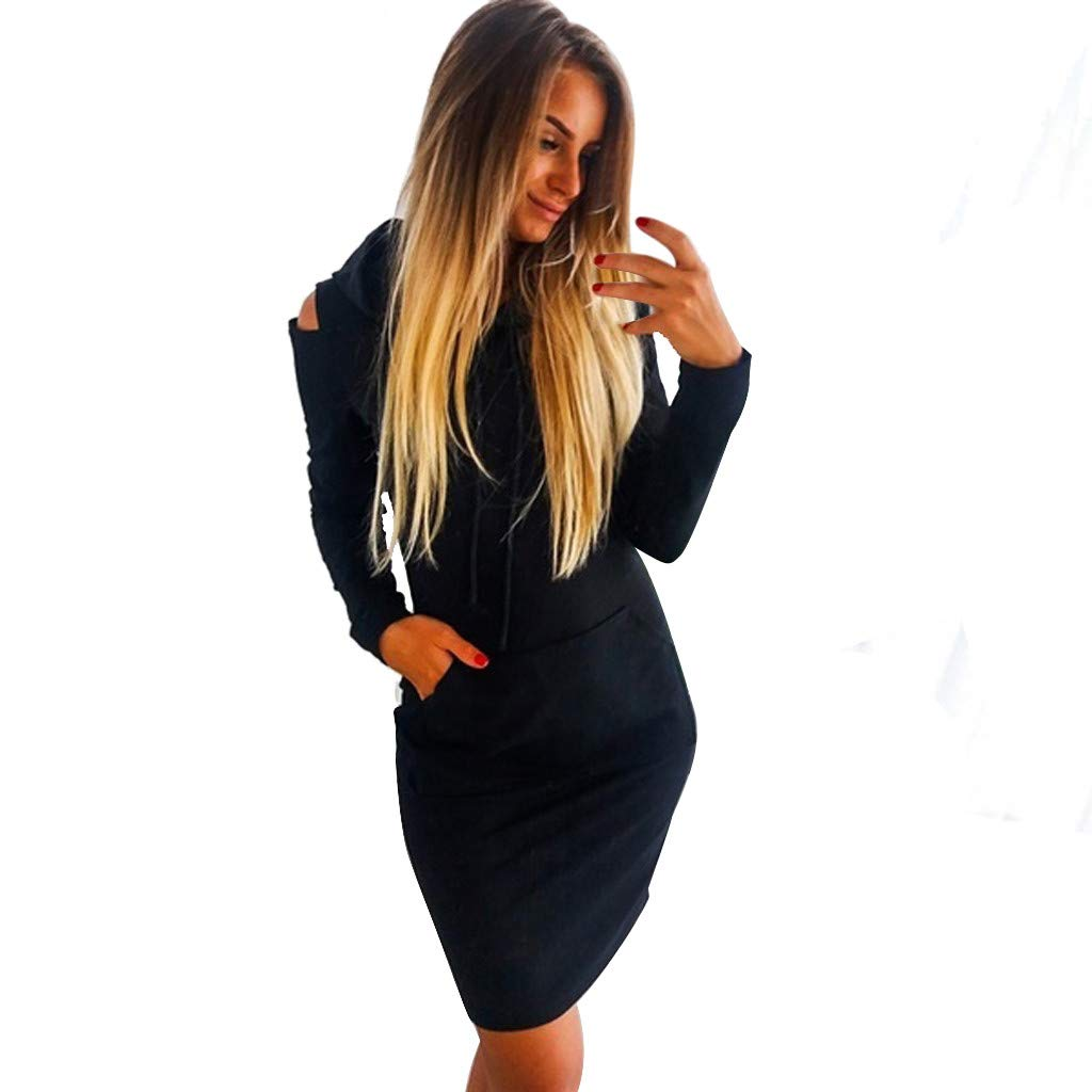 Mlide Women Off-The-Shoulder Mini Dress With Pocket,Long Sleeve Strapless Hooded A-Line Dress(Black,Small)
