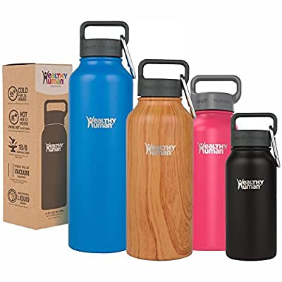 Healthy Human Water Bottle Stein - Cold 24 Hrs, Hot 12 Hrs. 4 Sizes & 12 Colors. 100% Leak & Sweat Proof. Double Walled Vacuum Insulated Stainless Steel Thermos Flask with Carabiner & Hydro Guide.
