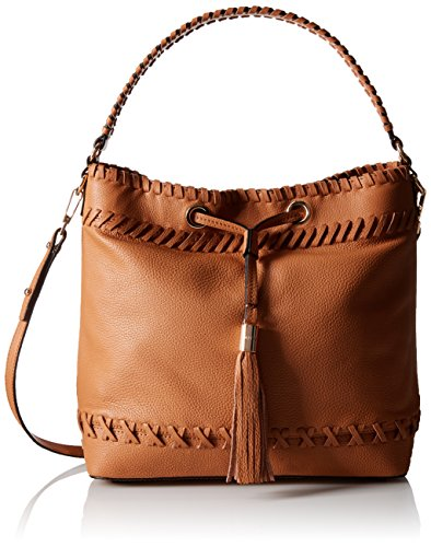 MILLY Astor Whipstitch Bucket Bag, Caramel, One Size