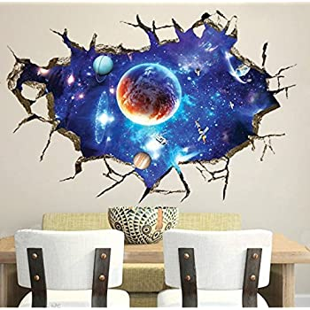 CHANS® 3D Wall Stickers,Cracked Wall Effect Planet World Outer Space Vinyl  Wall Art
