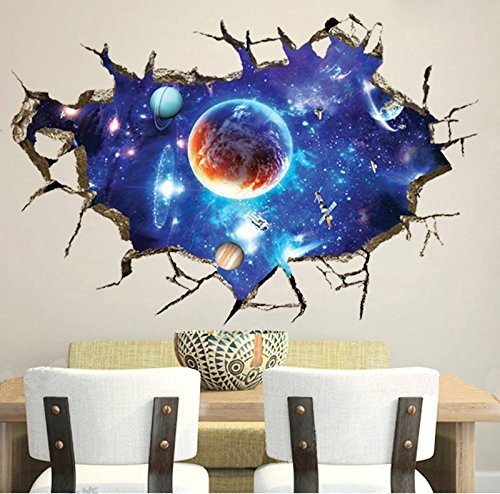 CHANS® 3D Wall Stickers,Cracked Wall Effect Planet World Outer Space Vinyl Wall Art Stickers,DIY Mural Wall (Cracked Wall)