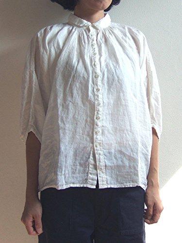 間欠永久にあえぎBrocante ブロカント ドミンゴ 38-042L 31 グランシャツ オフホワイト リネンキャンバス 麻 ドルマン ギャザー 5分袖 Made in JAPAN 日本製