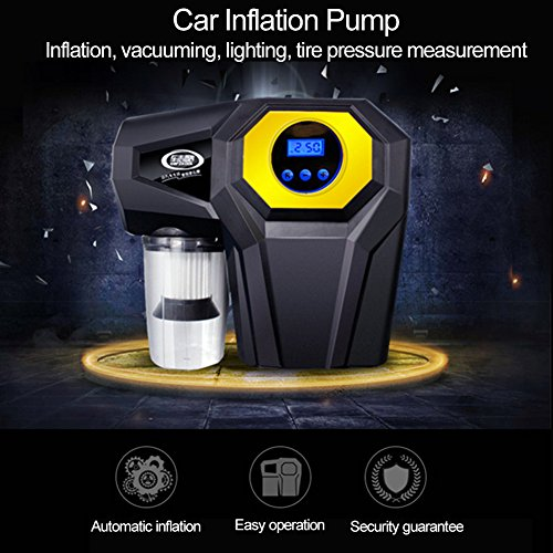 4-In-1 Car Digital LED Display Inflator Pump Car Vacuum Cleaner Wet & Dry Dual-Use Car Vacuum Cleaner With Light Inflation Measuring Tire Pressure( DC 12v 120W) by blue--net