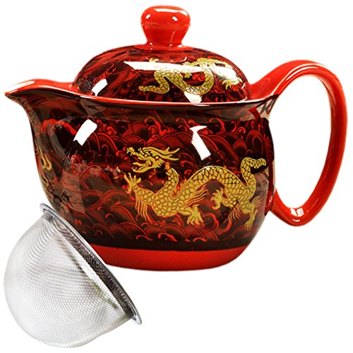 BandTie Convenient Travel Home Office Loose Leaf Chinese Gongfu Tea Brewing System-Blue and White Porcelain Teapot Ceramics Tea Pot with Stainless Steel Tea Infuser Strainer,Red Dragon Pattern