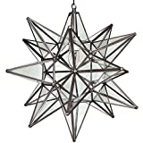 Moravian Star Pendant Light, Clear Glass, Bronze Frame, 18''