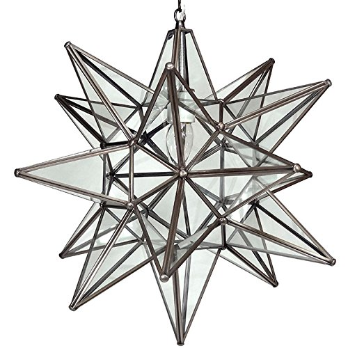 Moravian Star Pendant Light, Clear Glass, Bronze Frame, 21'' by DuDa Home Decor