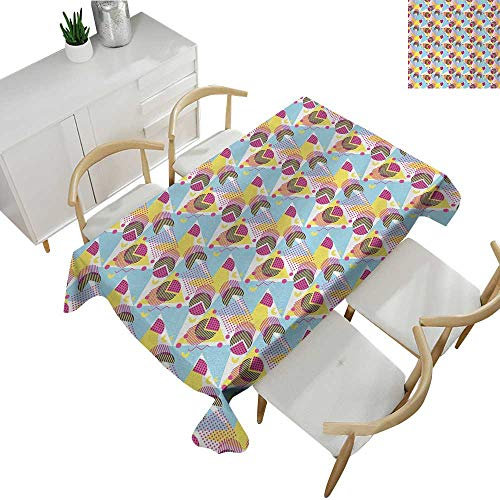 Pastel,Fitted tablecloths Geometric Elements Memphis in The Style