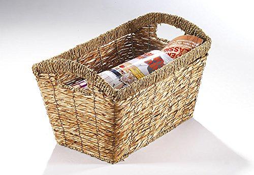 Zeitungsständer Magazinsammler Zeitschriftenkorb Zeitungskorb aus Galangablatt natur eckig mit Seegrassrand