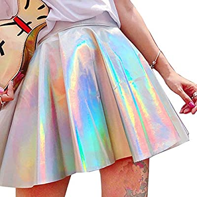 LULULADY Women's Shiny Metallic Faux Leather High Waisted Flared Skater Skirt