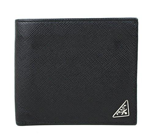 (プラダ) PRADA  二つ折り財布 黒 メンズ   h247 [中古] B07DXB34DQ