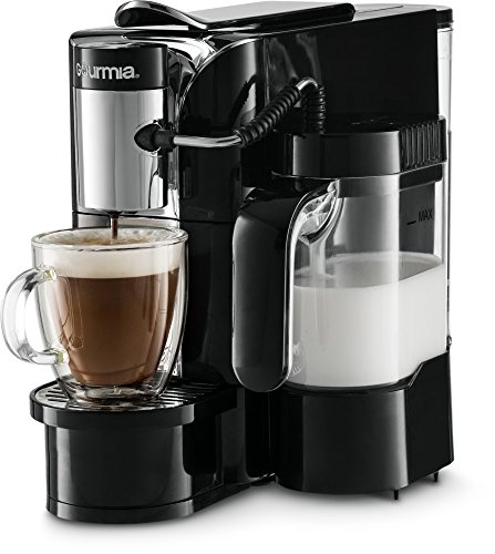 Automatic Espresso Machine (Gourmia GCM5500 - One Touch Automatic Espresso, Cappuccino & Latte Maker - Coffee Machine - Brew, Froth, and Mix Milk Into Cup with the Push of One Button - Nespresso Compatible - 1050W - Black)
