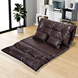 Tobbi Floor Sofa Pu Leather Adjustable Leisure Lazy Lounge Sofa Chair with 2 Pillow, Brown