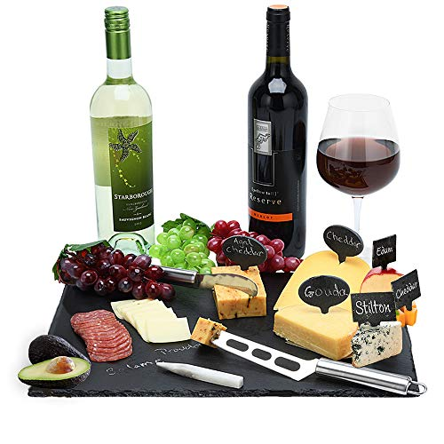 Slate Serving Cheese Board Plate and Platter Dessert Tray for Dinner Parties and Entertaining Pack of 2 (8