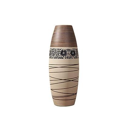 LANSEL Jarrón de cerámica para decoración de Pisos - SM030 Marrón 60 cm Sala de Estar
