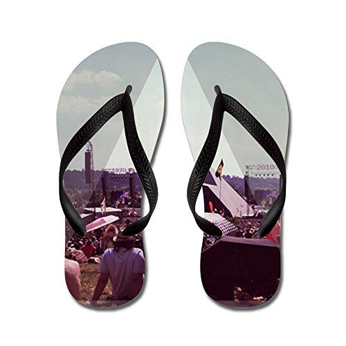 Cafepress Glastonbury - Piramidefase - Flip Flops, Grappige Leren Sandalen, Strand Sandalen Zwart