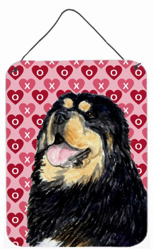 Carolines Treasures SS4512DS1216 Tibetan Mastiff Hearts Love and Valentines Day Wall or Door Hanging Prints 12x16 Multicolor