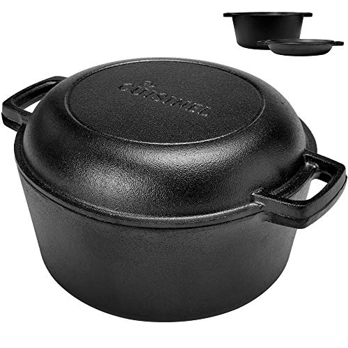 (Pre-Seasoned Cast Iron Skillet and Double Dutch Oven Set - 2 In 1 Cooker: 5 Quart Deep Pan, 10