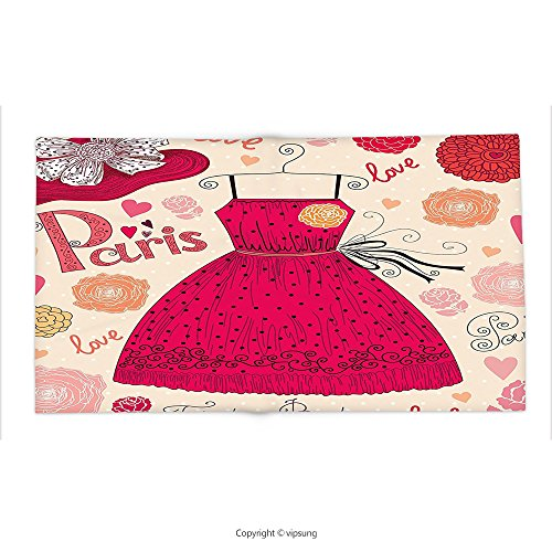 [Custom printed Throw Blanket with Fashion House Decor by Vintage Fashion Elements with Outfit Hat and Flowers Pastel Graphic Red Cream Super soft and Cozy Fleece Blanket] (Katy Perry Roar Outfit)