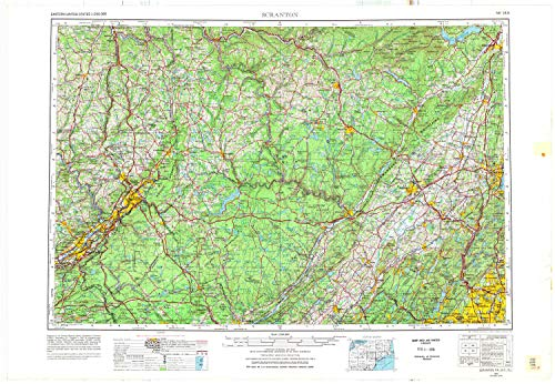 - YellowMaps Scranton PA topo map, 1:250000 Scale, 1 X 2 Degree, Historical, 1962, Updated 1977, 22.6 x 32.8 in - Tyvek
