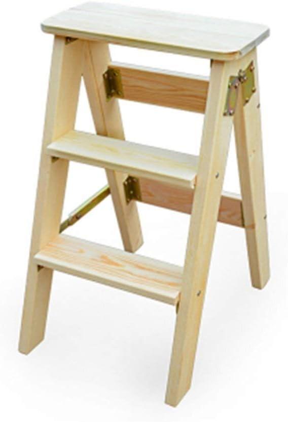 LY-Escalera Escalera plegable silla plegable del taburete multifunción 3 Pasos Libros de cocina de madera sólida pasos de alto 60cm plegable taburete de madera (Color : Varnish): Amazon.es: Bricolaje y herramientas