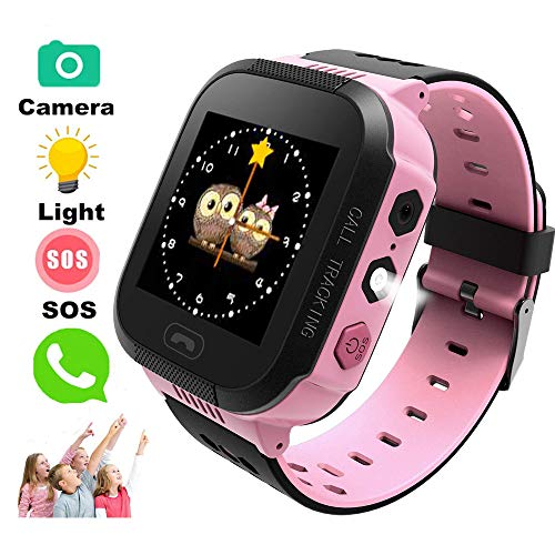 TKSTAR Kids Smart Watch with Camera Children LBS AGPS Realtime Worldwide Locator Anti Lost Waterproof Smartwatch Sim Card Voice Intercom Camera Wearable Device TKS4 (Pink)