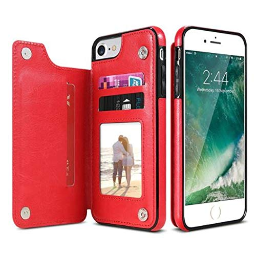 iPhone Xs, XS Max & XR Wallet Case with Card HolderWallet Flip PU Leather Protective Case Magnetic Detachable Slim Back Cover Card Holders (Red, iPhone XR)